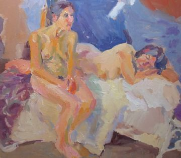 John Harvey Oil Painting Portrait Of Two Nude Females